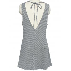 Refreshing Women's V Neck Open Back Pinstriped Tank Dress -