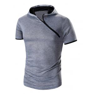 Zipper Design Hooded Short Sleeve T-Shirt For Men
