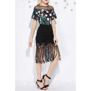 Lace Splicing Fringed Bodycon Skirt -