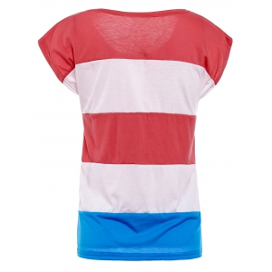 Stylish Round Neck American Flag Print Color Block Short Sleeve Women's T-Shirt - RED L