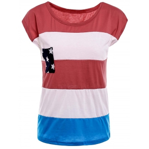 Distressed American Flag Print Short Sleeve T-Shirt