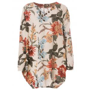 Sweet V-Neck Long Sleeves Floral Printed Dress For Women - Apricot - Xl