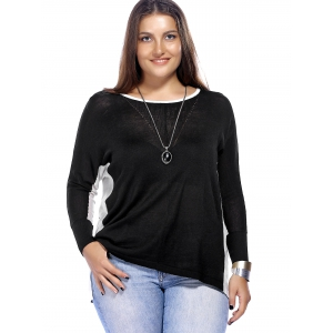 Chic Plus Size Color Block High-Low Hem Knitted Women's Blouse -