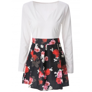 Mini Floral Long Sleeve Flare Dress