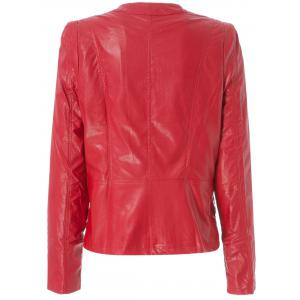 Stylish Round Neck Long Sleeve Solid Color Zippered PU Women's Jacket - RED 2XL
