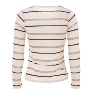 Fashionable Scoop Neck Long Sleeve Striped T-Shirt For Women - LIGHT YELLOW S