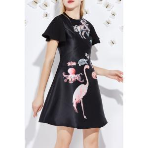 Flounced Sleeve Animal Pattern Dress -