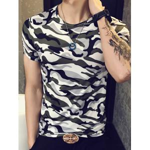 Slimming Round Collar Camouflage T-Shirt For Men -