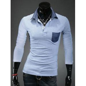 Turn-Down Collar Polka Dot Spliced Pocket Long Sleeve Polo T-Shirt For Men