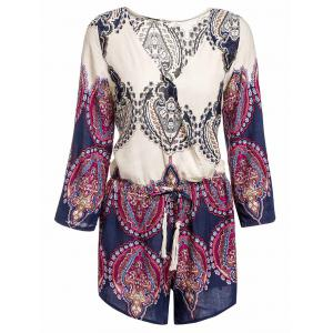 Sexy Plunging Neck Printed Long Sleeve Romper For Women