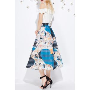 Mesh Spliced Print Skirt -