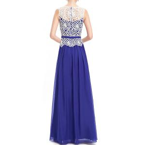 Lace Splicing Pleated Maxi Evening Dress -