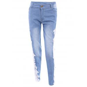Washed Lace Insert Skinny Jeans