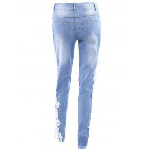 Washed Lace Insert Skinny Jeans - WHITE M