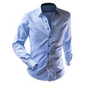 Slimming Solid Color Turn-Down Collar Long Sleeve Shirt For Men - Blue - 2xl