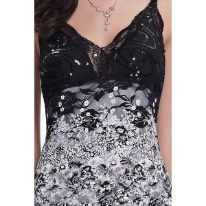 Sequin Floral Layered Asymmetric Slip Dress -