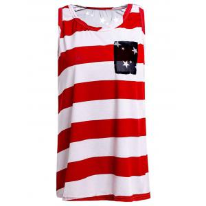 Stylish Scoop Collar Striped Star Print High-Low Hem Women's Tank Top