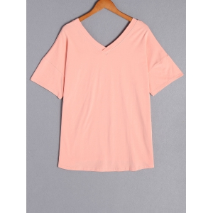Casual Scoop Neck Pure Color Short Sleeve Plus Size T-Shirt For Women - PINK XL