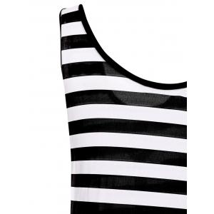 Scoop Neck Sleeveless Striped Printed One-Piece Women's Swimwear -