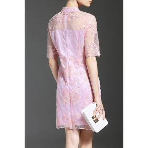 Stand Neck Half Sleeve Embroidered Pink Dress -