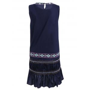 Ethnic Style Sleeveless Embroidered Mini Dress -