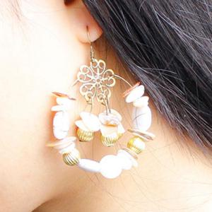 Pair of Graceful Faux Gem Floral Earrings For Women - WHITE
