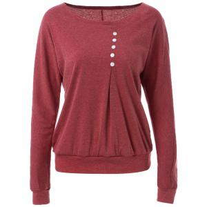 Casual Style Scoop Neck Long Batwing Sleeve Solid Color Loose-Fitting Women's T-Shirt