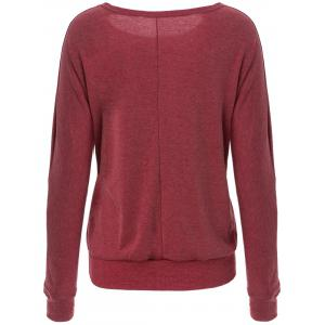 Casual Style Scoop Neck Long Batwing Sleeve Solid Color Loose-Fitting Women's T-Shirt - RED S
