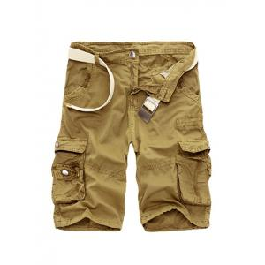 Zipper Fly Cotton Blends Multi-Pockets Straight Leg Cargo Shorts For Men - Khaki - 38