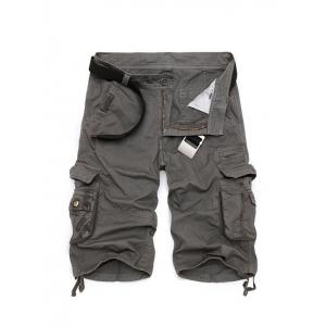 Zipper Fly Cotton Blends Multi-Pockets Straight Leg Cargo Shorts For Men - Deep Gray - 31