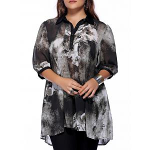 Plus Size Brief Ink Painting Buttoned Blouse - Black - 2xl