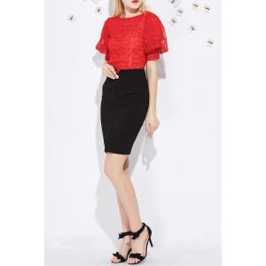 Lace T-Shirt and Slit Skirt Twinset -