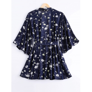 Stylish Tie Waist Printing Long Sleeves Blouse + Elastic Waist Shorts Twinset For Women -
