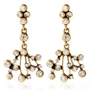 Pair of Vintage Rhinestoned Embellished Earrings For Women