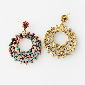 Vintage Rhinestone Beads Round Earrings - COLORMIX