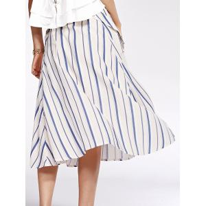 Bohemian Striped Pockets Single-Breasted Shirt Skirt For Women -