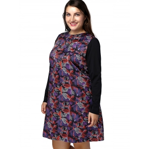 Plus Size Long Sleeve Flower Print A Line Dress -