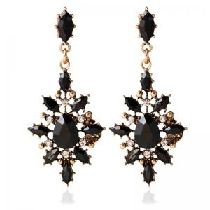Pair of Vintage Geometric Water Drop Earrings For Women - Black - Xl