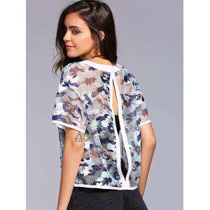 Fashionable Short Sleeves Scoop Neck Lace Camo Short T-Shirt For Women - WHITE S