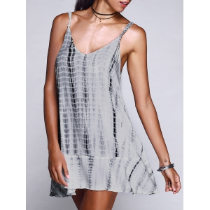 Print Spaghetti Strap Casual Mini Dress - White - S
