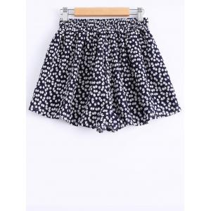 Casual Printing V-Neck Trumpet Sleeves Tops + Elastic Waist Shorts Twinset For Women -