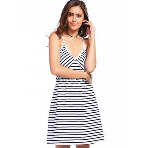Casual Plunging Neck Gallus Striped Summer Dress For Women - WHITE AND BLACK L