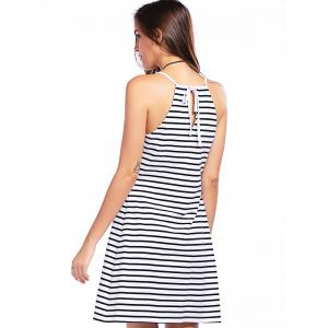 Casual Plunging Neck Gallus Striped Summer Dress For Women - WHITE/BLACK L