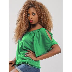 Sweet Half Sleeve Scoop Neck Hollow Out Women's Blouse - GREEN XL