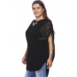 Plus Size Lace Trim Curved Blouse -