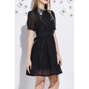 Short Sleeve Embroidered A Line Dress -