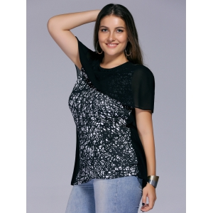 Chic Plus Size Cape Sleeve Printed Women's Blouse -