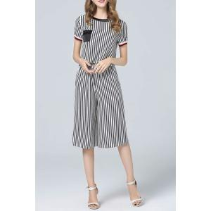 Vertical Striped Blouse and Capri Pants Twinset -