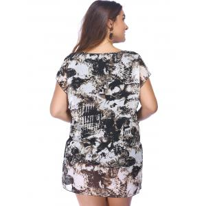 Trendy Plus Size Printed Elastic Waist Women's Dress -