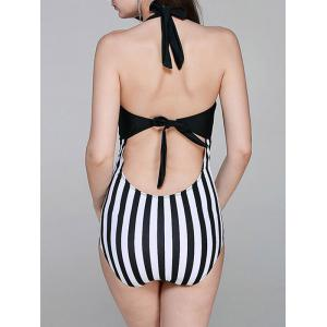 Fashionable Halter Striped Cut Out One-Piece Swimsuit For Women -